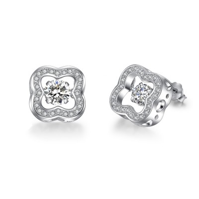 Tinnivi Sterling Silver Four Leaf Clover Moving Created White Sapphire Stud Earrings