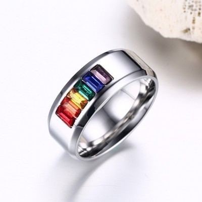 Tinnivi Titanium Steel Rainbow Created Emerald Cut Gemstone Band