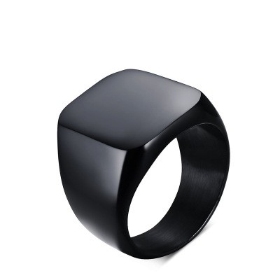 Tinnivi Vintage Style Titanium Steel Polished Black Men Band