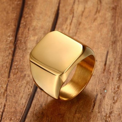Tinnivi Titanium Steel Vintage Style Polished Gold Men Band