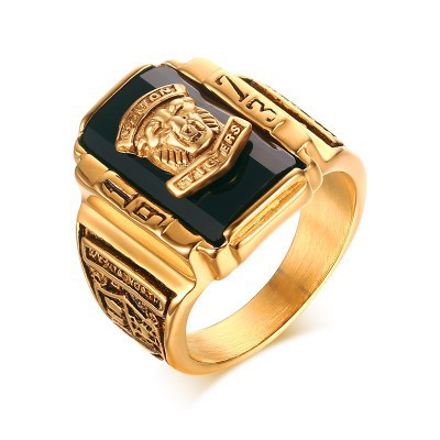 Tinnivi Titanium Steel Black Rhinestone 1973 Walton Tigers Signet Ring for Men