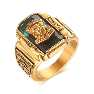 Tinnivi Titanium Steel Green Rhinestone 1973 Walton Tigers Signet Men Ring