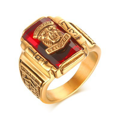 Tinnivi 1973 Walton Tigers Signet Titanium Steel Red Rhinestone Men Ring