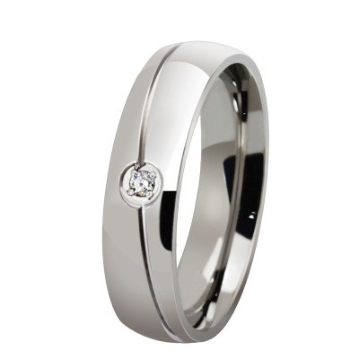 Tinnivi Round Cut Created White Sapphire Titanium Steel Wedding Band