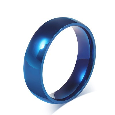 Tinnivi Titanium Steel Simple Blue Polished Wedding Band