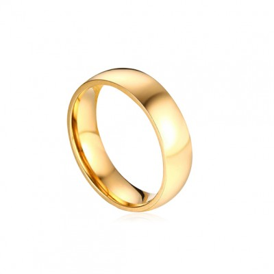 Tinnivi Gold Titanium Steel Polished Simple Wedding Band