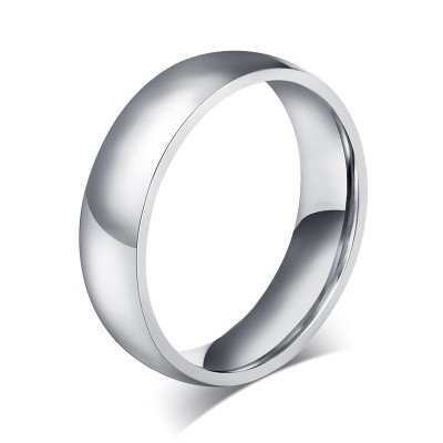 Tinnivi Simple Titanium Steel Polished Wedding Band