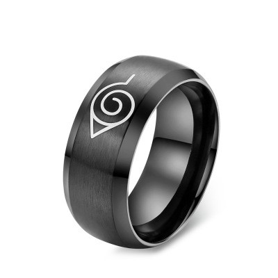 Tinnivi Titanium Steel Cool Black Men's Ring