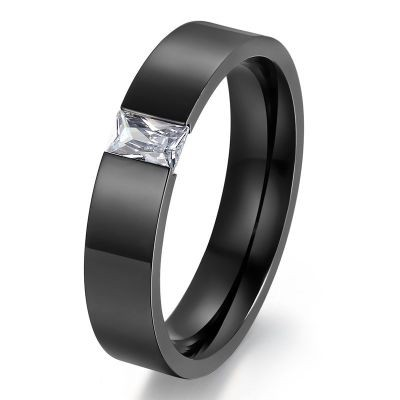 Tinnivi Black Titanium Steel Created Emerald Cut White Sapphire Wedding Band