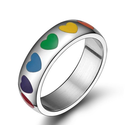 Tinnivi Rainbow Titanium Steel Love Hearts Ring