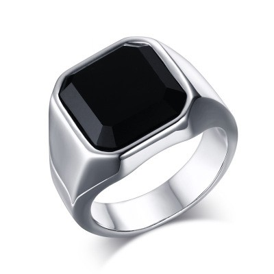 Tinnivi Titanium Steel Created Black Square Agate Men Signet Ring