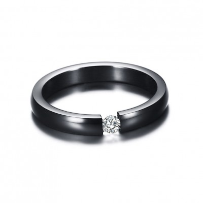 Tinnivi Black Titanium Steel Round Cut Created White Sapphire Wedding Band