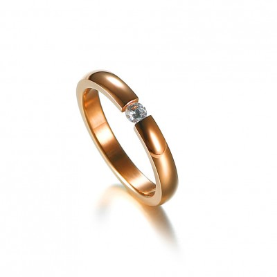 Tinnivi Rose Gold Titanium Steel Round Cut Created White Sapphire Wedding Ring