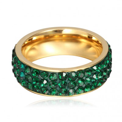 Tinnivi Pave Created Green Gemstone Titanium Steel Fashional Wedding Band