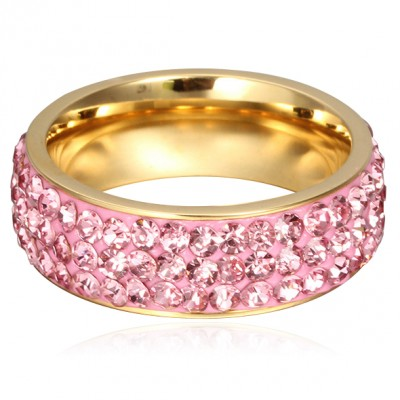 Tinnivi Fashional Pave Created Pink Gemstone Titanium Steel Wedding Band