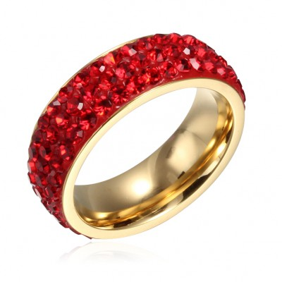 Tinnivi Titanium Steel Fashional Pave Created Red Gemstone Wedding Band