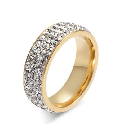 Tinnivi Fashional Titanium Steel Pave Created Created White Sapphire Wedding Band