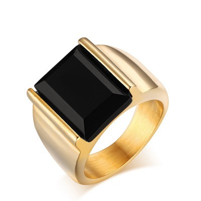 Tinnivi Gold Titanium Steel Created Emerald Cut Black Diamond Men's Ring