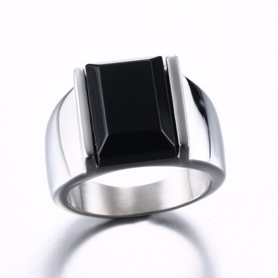 Tinnivi Created Emerald Cut Black Diamond Silver Color Titanium Steel Men's Ring
