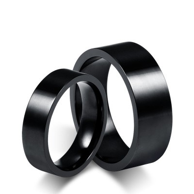 Tinnivi Simple Black Titanium Steel Wedding Rings For Couples