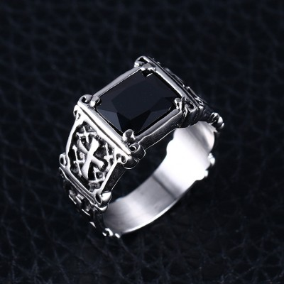 Tinnivi Vintage Titanium Steel Created Black Diamond Men's Ring