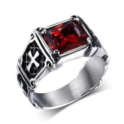 Tinnivi Ruby Cubic Zircon Stone Titanium and Titanium Steel Vintage Men's Ring
