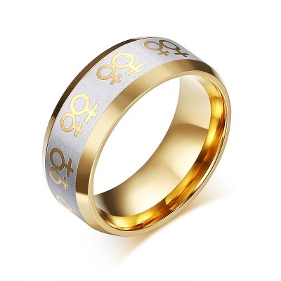 Tinnivi Stylish Gold With Silver Titanium Steel Women's Ring