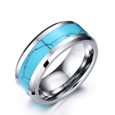Tinnivi Fashionable Silver And Blue Titanium Steel Men's Band