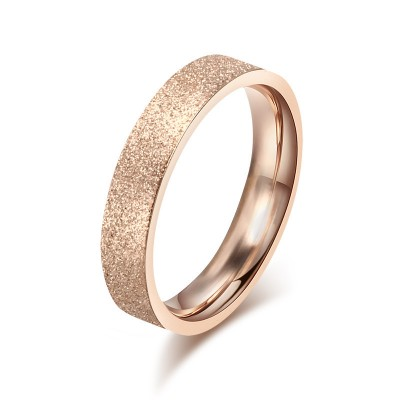 Tinnivi Fashion Design Plating Rose Gold Dull Polish Style Titanium Steel Wedding Ring