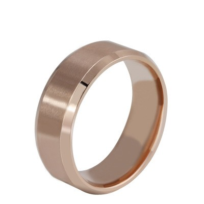 Tinnivi Simple Polished Rose Gold Titanium Steel Wedding Band