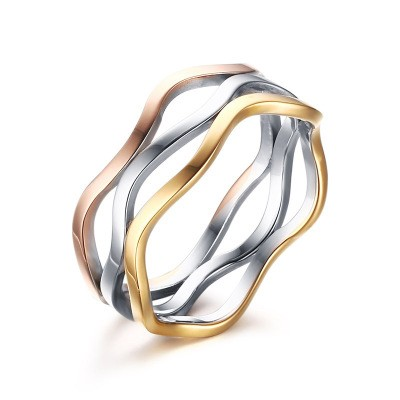 Tinnivi Fashion Design Tri-Color Triple Linked Titanium Steel Women's Ring