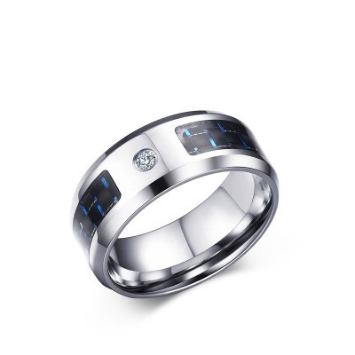 Tinnivi Black and Blue Carbon Fiber Inlay Titanium Steel Men's Ring