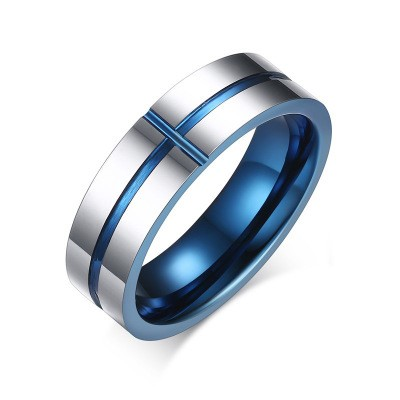Tinnivi Blue Titanium Steel Cross Groove Wedding Band Ring for Men