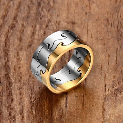 Tinnivi Titanium Steel Silver and Gold Stylish Men's Band