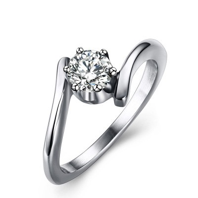 Tinnivi Fashion Round Cut Created White Sapphire Titanium Steel Engagement Ring