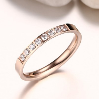 Tinnivi Rose Gold Round Cut Created White Sapphire Titanium Steel Wedding Band