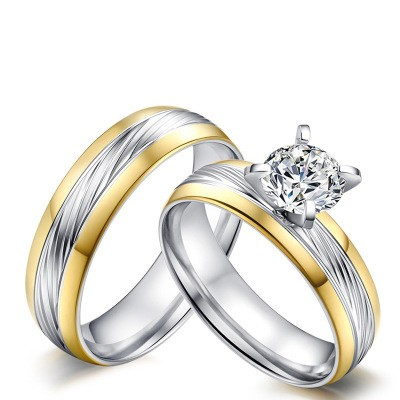 Tinnivi Round Cut Created White Sapphire Silver And Gold Titanium Steel Wedding Rings For Couples