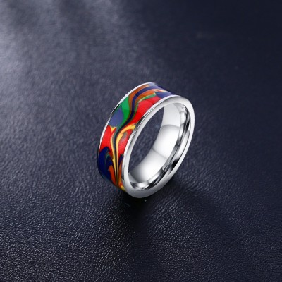 Tinnivi Silver Titanium Steel Stylish Oil Painting Band Ring