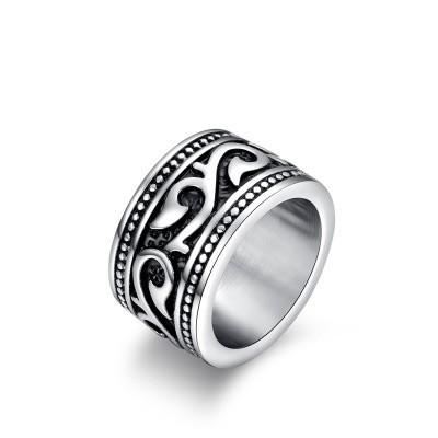 Tinnivi Heavy Wide Vintage Black Silver Titanium Steel Mens Rings