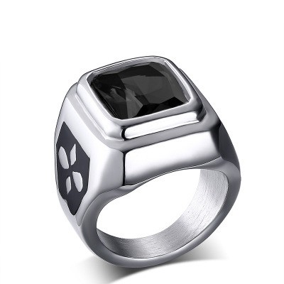 Tinnivi Fashion Silver Titanium Steel Signet Rings with Black Agate for Men