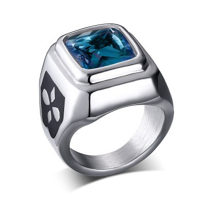 Tinnivi Fashion Created Blue Gemstone Silver Titanium Steel Signet Rings for Men