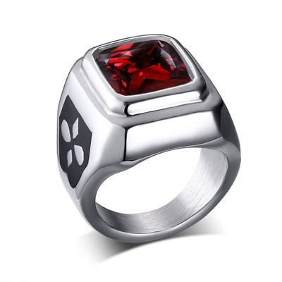 Tinnivi Created Ruby Fashion Silver Titanium Steel with Signet Rings for Men