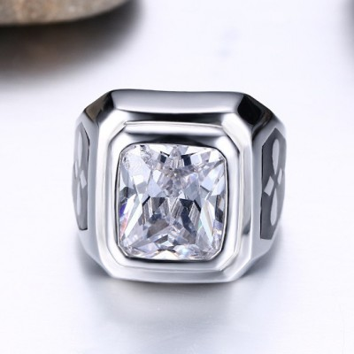 Tinnivi Silver Titanium Steel Created White Sapphire with Fashion Signet Rings for Men