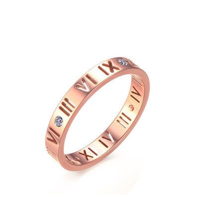 Tinnivi Rose Gold Plated Hollow Out Roman Number Pattern Titanium Steel Womens Ring