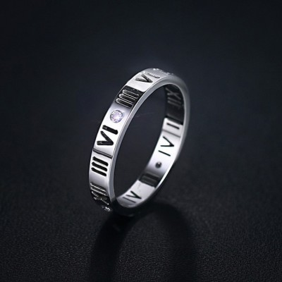 Tinnivi Hollow Out Roman Number Pattern Silver Color Titanium Steel Womens Ring