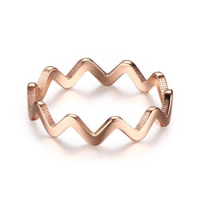 Tinnivi Titanium Steel Rose Gold Plated Dainty Wave Womens Band