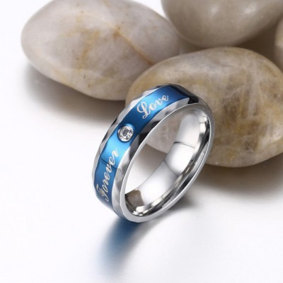 Tinnivi Blue Titanium Steel Created White Sapphire Classic Forever Love Mens Band