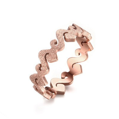 Tinnivi Dull Polish Rose Gold Plated Titanium Steel Wave Womens Band