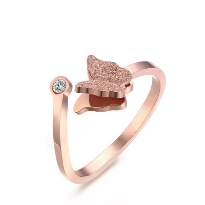 Tinnivi Rose Gold Plated Titanium Steel Created White Sapphire Butterfly Matte Finish Adjustable Cuff Womens Rings