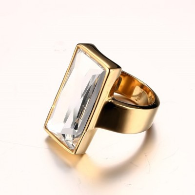Tinnivi Baguette Cut Created White Sapphire Titanium Steel Gold Plated Mens Ring
